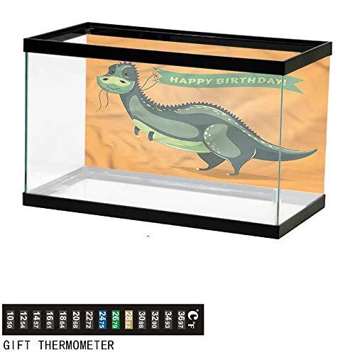 bybyhome Fish Tank Backdrop Birthday,Birthday Greetings Fun,Aquarium Background,60