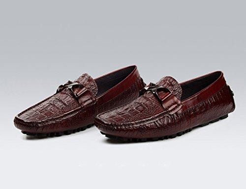 Zapatos Clásicos de Piel para Hombre Zapatos de cuero de los hombres Zapatos casuales Zapatos de conducción de estilo británico Tumbona transpirable ( Color : Vino rojo , Tamaño : EU39/UK6 ) Vino Rojo