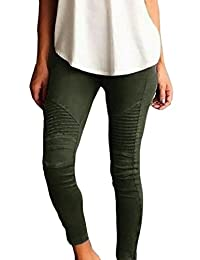 Frieed Women's Stretchy Pleated Ankle Zipper Pencil Moto Pants Jeggings