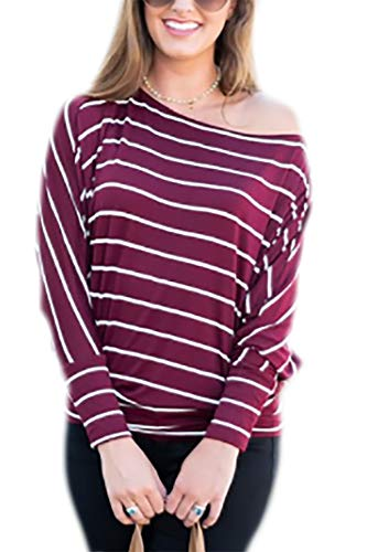 Women's Tops and Blouse Long Sleeve Off Shoulder Striped Shirts Plus Size XX-Large Wine Red (Top Sleeve Dolman Shoulder)