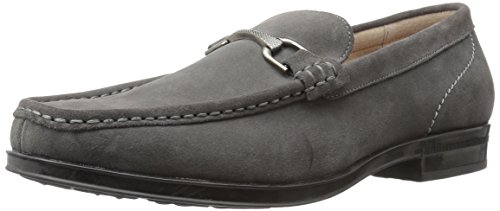 Stacy Adams Men's Newcomb Moc Toe Bit Slip-on Penny Loafer, Gray Suede, 10 M US
