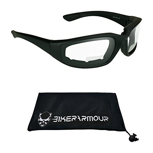 ANSI Z87 Motorcycle Bifocal Safety Glasses foam padded 1.50 for Smaller Head Sizes- Free Microfiber Cleaning Case.