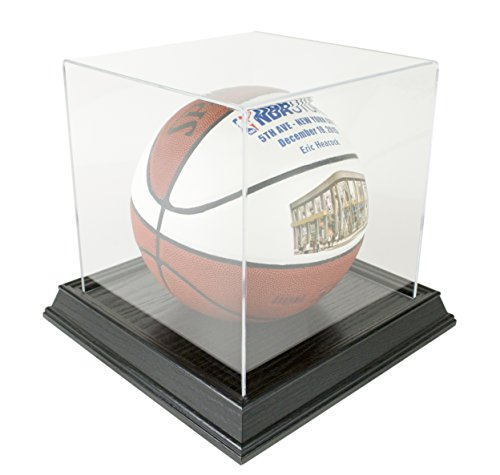 Basketball Display Case with Wood Base - Black by Star Innovations