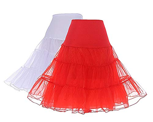 Ball White Womens T-shirt - DRESSTELLS Women's Vintage Rockabilly Petticoat Skirt Tutu 1950s Underskirt 2-Pack(White+red) XL
