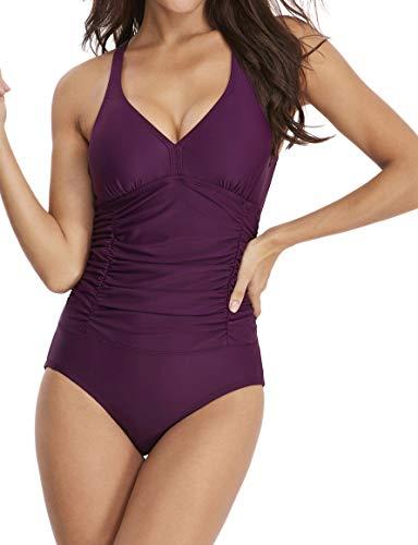 - Es Unico Women's Tummy Control Swimwear. One Piece Ruched Waist Bathing Suit. Fixed Cups. Purple.L