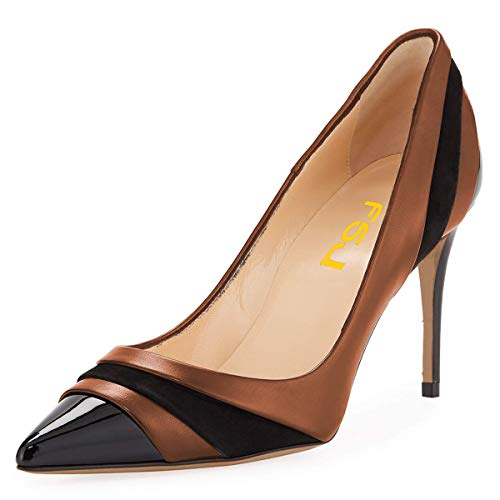 Shoes Brown Size 15 Dress Pointed 4 FSJ Heels Clubbing Classic Formal Toe High Pumps Party Women US 7W6aAPwq