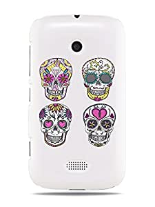 "GRÜV Premium Case - ""Sugar Skulls Hearts Day of the Dead Zombie Digital Pop Art"" Design - Best Quality Designer Print on White Hard Cover - for Nokia Lumia 510"
