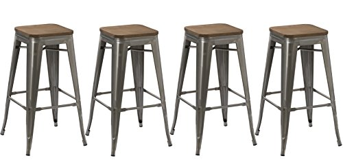 BTEXPERT 30-inch Industrial Stackable Tabouret Metal Vintage Antique Rustic Style Clear Brush Distressed Counter Bar Stool Modern Wood top seat (Set of 4 Barstool)