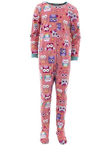 (Komar Kids Girls' Big Plush Velour Fleece Footed Blanket Sleeper Pajama, Coral owl, Large)