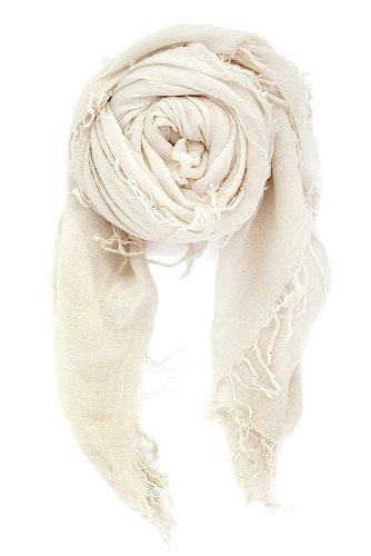 Chan Luu Women's Combo Cashmere Silk Scarf 62''x 58'' in Eggshell by Chan Luu