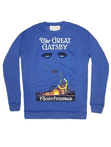 Out of Print Great Gatsby Vintage Inspired Blue Crew Neck Sweatshirt - Sweatshirt Gatsby