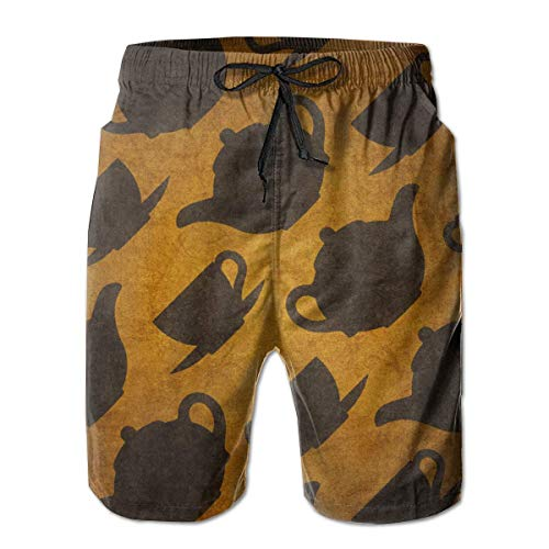 Quick Dry Beach Shorts Teacups Pattern Swim Trunks Surf Board Pants with Pockets for Men£¬ Black