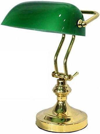Lámpara de mesa ministeriale Cristal Verde de latón Churchill Inglés