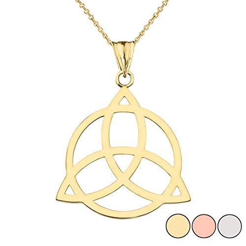 - Elegant 10k Yellow Gold Celtic Trinity Knot Circle of Life Silhouette Pendant Necklace, 18