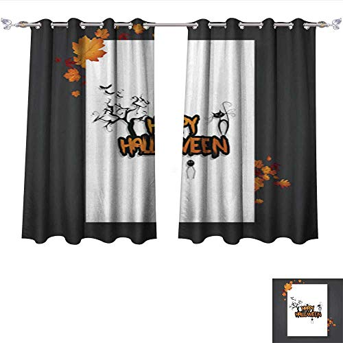 Philiphome Drapes for Living Room Halloween Vector Poster Flyer with Autumn Leaves and Happy Halloween Lettering with Grungy Font Tie Up Printed Blackout Curtain W96 x L72/Pair