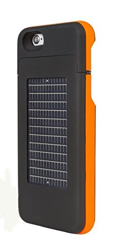 EnerPlex Surfr Ultra Slim Battery Backup & Solar Powered Case for iPhone 6/iPhone 6S, Black/Orange, SRI62700OR