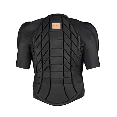 BenKen Skiing Anti-Collision Sports Shirts Ultra Light Protective Gear Outdoor Sports Anti-Collision Clothing Armor Spine Back Protector (Short Black-XXL)