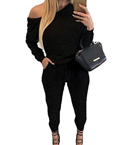 Sheng Xi Womens Dress Suit Bodysuit Sporty Baggy Mulit Color Jumpsuit Pants Black L (Sporty Body)
