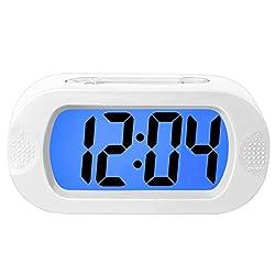 Lomanda Digital Alarm Clock,Easy Setting Kids Clock Battery Operated Desk Clock with Backlight Snooze Large LED Display Silicone Cover for Travel Bedroom, for Boys Girls Seniors Elders (White)