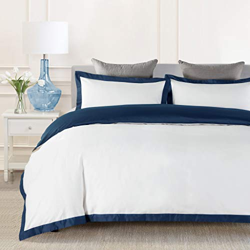 JOHNPEY Duvet Cover Queen Size White,1000TC Egyptian Cotton 3pc Hotel Bedding Set,Soft Comforter Cover,Sateen Weave,Button Closure,Room Decor for Men Women(Navy Blue/Off-White,Queen)