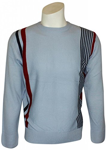 Mens Relco Classic Red Mod Racing Stripes Fine Knit Jumper