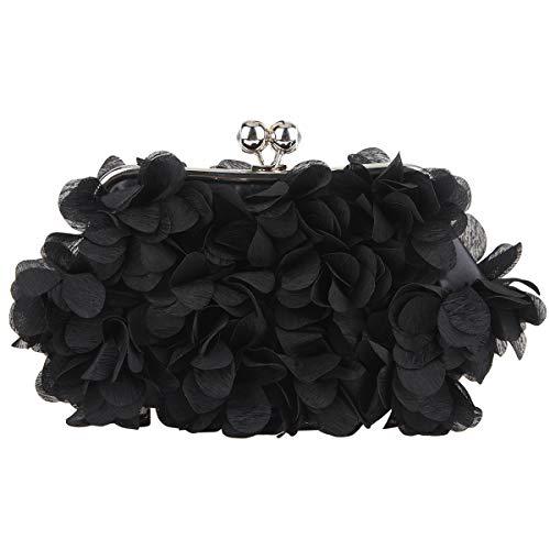 Fawziya Floral Clutch Purses For Women Satin Evening Bag-Black
