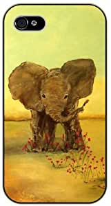 Baby Elephant playing with flowers - iPhone 5 / 5s black plastic case / Animals and Nature