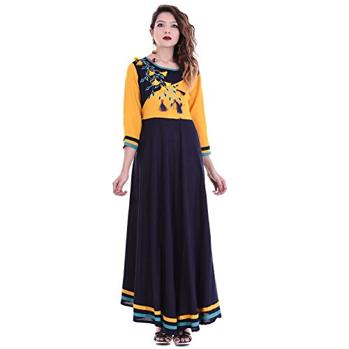 Chichi Women 3/4 Sleeve Tunic Embroidery Top Kurti Blouse (Blue) by CHI (Image #2)
