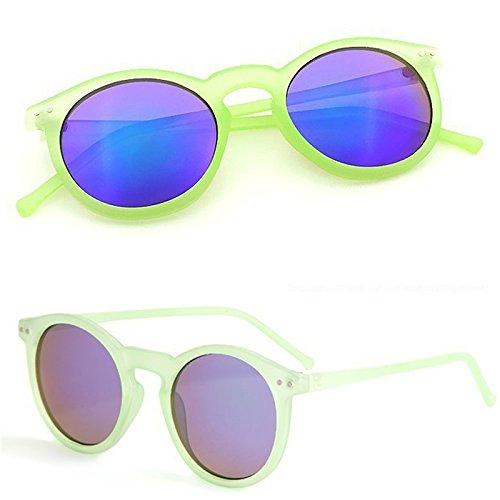 YWL marco de espejo de Black gafas blue Green Vintage unisex para y con Transparent Lamdoo Gafas metal redondo Retro sol qwZOxWBX