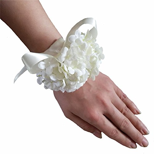 Artificial Silk Hydrangea Flower Diy Bride Wrist Corsage Women Hand Wedding Flowers Decoration (4, Ivory)