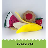 Felt Food Snack Set, Banana, Strawberry, Watermelon and Raspberry Cookie