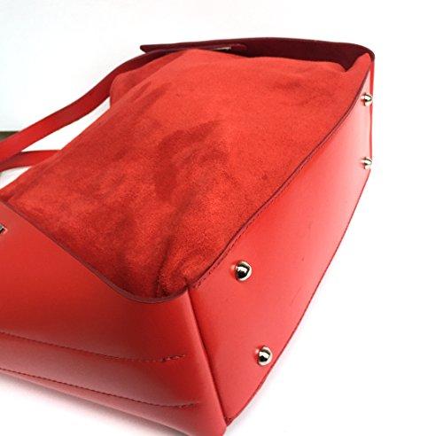 Superflybags Borsa A Mano In Vera Pelle modello Ginevra Made In Italy Rosso