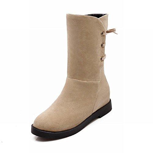 Latasa Womens Fashion Nubuck Chunky Low Heel High Top Back Lace-up Boots Beige iQResQG96
