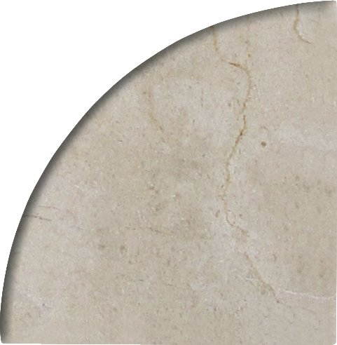 - 9'' X 9'' X 3/4'' Round Edge Crema Marfil Premium Corner Shelf Piece Both Sides Polished