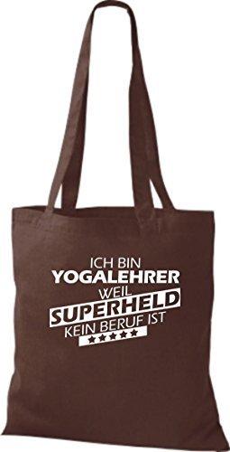 Shirtstown Bolso de tela Estoy Profesor de yoga, weil Superheld sin Trabajo ist Marrón