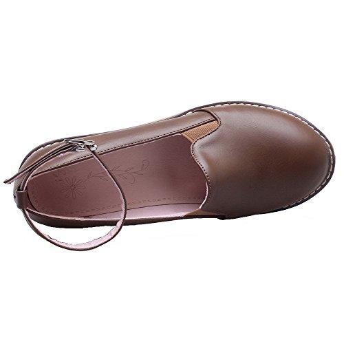Femme Boucle Brun Rond Couleur Talon Chaussures PU Légeres Cuir VogueZone009 Haut à Unie d5nda