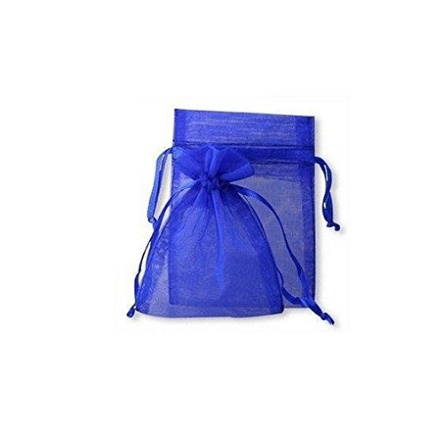 100 Royal Blue Organza Wedding Favour Bags Jewellery Pouches 9cm x 12cm without free gifts by joydiy