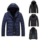 iHPH7 Men's Winter Warm Hoodie Zipped Thick Solid Fleece Coat Cotton-Padded Jacket