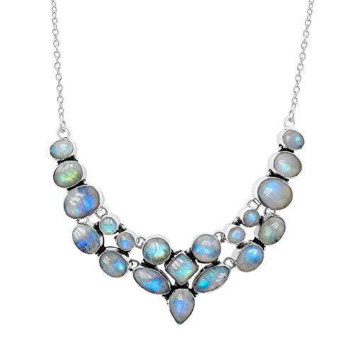 925 Silver Plated 45.30ctw Genuine Rainbow Moonstone - Moonstone Necklace Rainbow