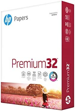 HP Paper Printer Paper 8.5x11 Premium 32 lb 1 Ream 500 Sheets 100 Bright Made in USA FSC Certified Copy Paper Compatible 113100R, White