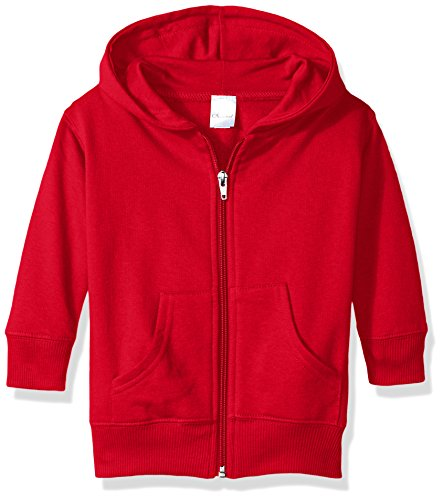Clementine Baby Infant Premium Fleece Zip Sweatshirt Hoodie, RED, 6MOS