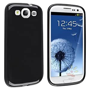 Viesrod eForCity Black TPU Rubber Case with FREE 2-piec Colorful Diamond LCD Cover compatible with Samsung Galaxy SIII...
