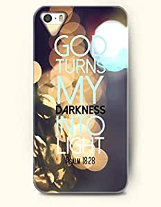iPhone 4 / 4s Case God Turns My Darkness Into Light Psalm 18:28 - Bible Verses - Hard Back Plastic Case - OOFIT Authentic