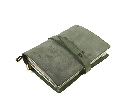 Leather Planner Organizer – Travelers Journal Academic Notebook Monthly & Daily - Refillable & Handmade - Gratitude Daytimer- Passion & Happiness Gifts 2019 2020 (Green) ()