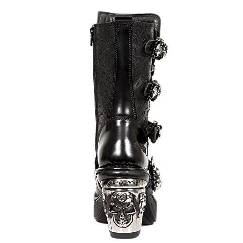 Smart Range New Rock M.8366-S1 Damen Schwarz Skull Vintage Blumen Leder Trail Boots