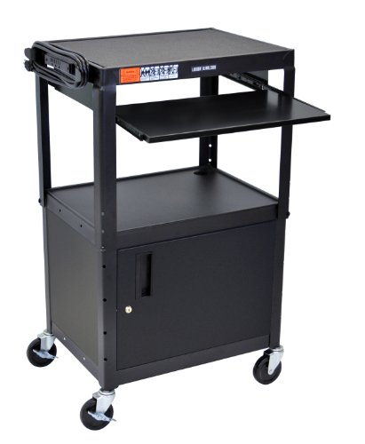 LUXOR AVJ42KBC Adjustable Steel A/V Cart - Cabinet with Pullout Trays ()