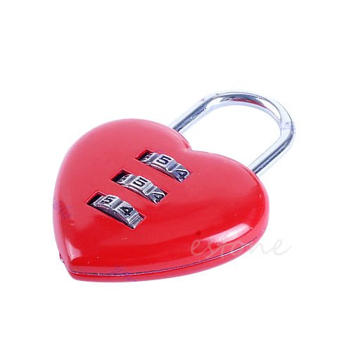 Mini Cute 3 Digits Luggage Suitcase Padlock Red Heart Shaped Coded Lock