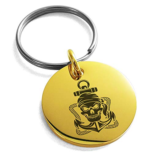 - Tioneer Gold Plated Stainless Steel Jolly Roger Pirate Skull Rope & Anchor Engraved Small Medallion Circle Charm Keychain Keyring