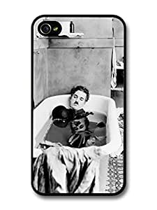AMAF ? Accessories Charlie Chaplin Having Bath Black & White case for iPhone 4 4S