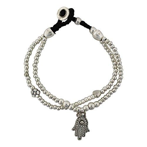 Two Strand Hamsa Silver Beaded Alloy Bracelet Waxed Linen Wristband Bali Jewelry